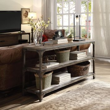 Acme 72685 Gorden weathered oak finish wood antique silver frame console sofa table
