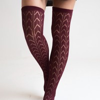 Deep Red Knee High Boot Socks - Final Sale