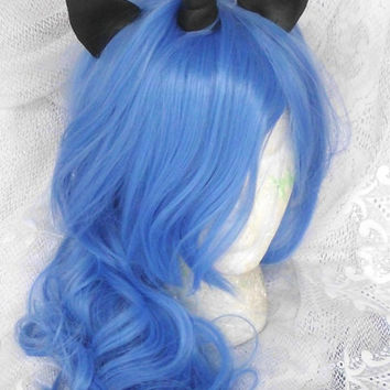 Unicorn Wig, Nightmare Moon Princess Luna, MLP Costume My Little Pony Blue, black horn and ear Pony Halloween, Unicorn Wig, Unicorn Costume