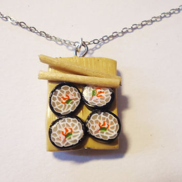 Cute Sushi NECKLACE by FrozenNote on Etsy