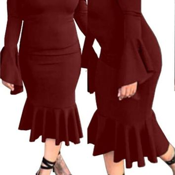 Wine Red Ruffle Peplum Boat Neck Bell Sleeve Fashion Midi Dress