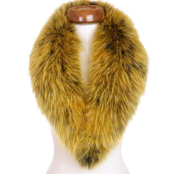 Yellow Gold Raccoon Fur Collar Scarf