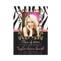 Pink Zebra Graduation Photo Announcements Invites from Zazzle.com