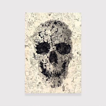 Doodle Skull Wood Print, Black And White Skull Art Print,Wood Panel Home Decor