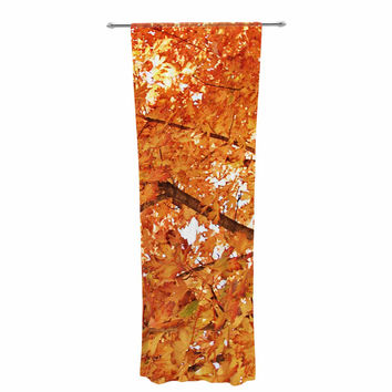 "Sylvia Coomes ""Fall Folioge"" Orange Yellow Decorative Sheer Curtain"