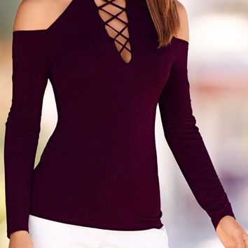 Purple Cut Out Off-shoulder Round Neck Long Sleeve Casual T-Shirt