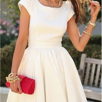 White Short Sleeve Pleated Dress