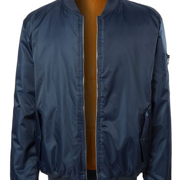 LE3NO Mens Classic Nylon Bomber Flight Jacket with Multiple Pockets