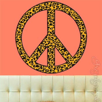 Cheetah Print Wall Decals Girls Room Graphics Spots Peace Sign Peel & Stick PC5