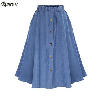 ROMWE Ladies Casual Skirts Summer 2016 New Womens Plain Elastic Waist Denim Flare Pleated Midi Skirt With Buttons