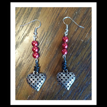 Valentine's Day Beaded Heart Dangle Earrings Red Beads, Heart charm, black wire, fish hook ear hooks handmade