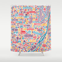 Munich City Map Poster Shower Curtain by Vianina