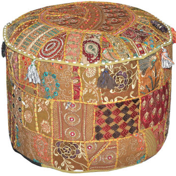 Gypsy Bohemian Vintage Patchwork Indian Pouf Large Round Ottoman Seat Stool Embroidered Pouffe round cotton stool chair bench foot stool