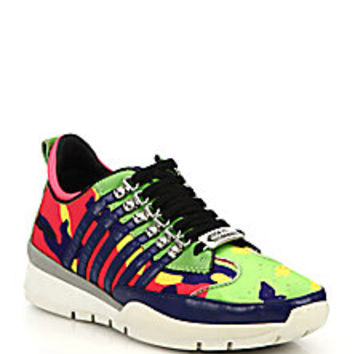 DSQUARED - Camouflage-Print Leather Sneakers - Saks Fifth Avenue Mobile