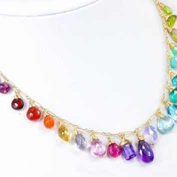 Rainbow Gemstone Necklace Rainbow Necklace Semi Precious Gemstone Necklace Multi Gemstone Drop Necklace Statement Colorful Necklace Gold 14K