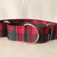 Red Tartan Martingale or Quick Release Collar