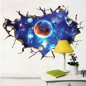 3D Wall Stickers For Children Cosmic Sky Art Stickers For Baby Boy Bedroom Sofa Backdrop Home Decor Furniture Stickers