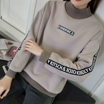 ICIKJ2X Loose and cashmere sweater female thickening