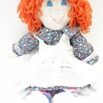 orange curly hair blue eyes freckles, cloth rag doll, hand made rag dolls, rag doll handmade, ragdoll fabric doll  NF118