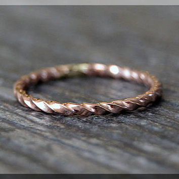 14k Rose Gold Filled Twisted Ring, Stacking Ring, Rose Gold Rope Stacking Ring, twisted ring, Rope texture ring, Handmade Gold Filled Band