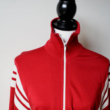 Black Friday Cyber Monday AS IS 1990s Vintage Track Jacket - Zip up Red Varsity Jacket - Unisex M L