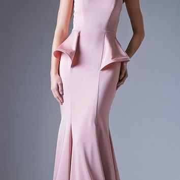 Peplum Blush Strapless Mermaid Floor Length Prom Gown