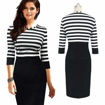 fashion  elegant ol ladies dress 3 4 sleeve slim striped patchwork bodycon dresses women business party prom pencil dress