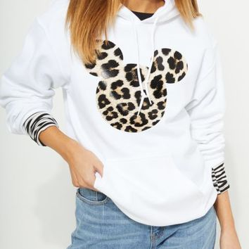 White Leopard Mickey Mouse Hoodie