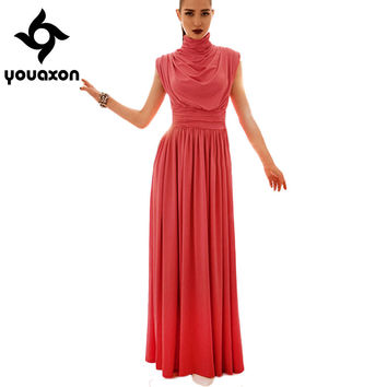 1243 Youaxon Ladies Elegant Vintage Turtleneck Long Maxi Evening Party Bohemian Shirt Tunic Dresses for Women a+ Dress