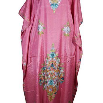 Mogul Womens Caftan Kaftan Kashmiri Ari-Floral Embroidery Cover Up Maxi Dress