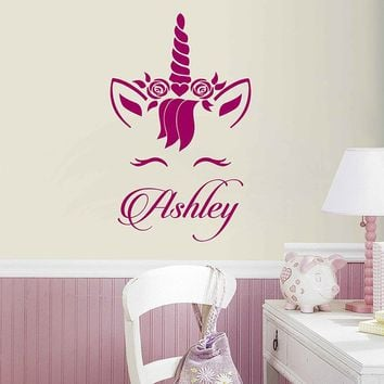 Personalized Name Unicorn Wall Decal Custom Name Unicorn Wall Sticker Vinyl Decal Monogram Girls Room Children Nursery Wall Decor ik3475