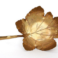 Brass Leaf Dish - Maple Leaf - Art Nouveau Decor - Apollo Studios NY - Metal Leaf Decor - Antique Metalwork - Leaf Sculpture - Brass Decor