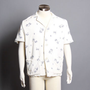 50s Men's Hawaiian Print SHIRT / TERRY CLOTH Lined Beach Cover Up, l