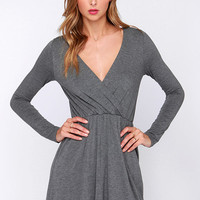 Alakazam Grey Long Sleeve Dress
