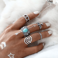 5 PCS/SET Vintage Eagle Ring Sets Silver Color Tibetan Cyan Artificial Stone Midi Ring for Women Antique Stone Men Rings  0527
