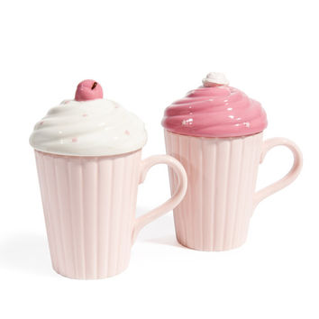 2 CREAMY earthenware mugs with lid in pink | Maisons du Monde