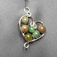 Valentine's day heart pendant,-Wire Wrapped Heart Pendant - wire wrapped jewelry handmade - Healing Jewelry