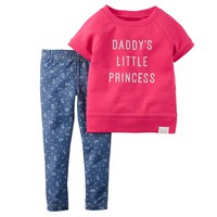 Carter's ''Daddy's Little Princess'' Raglan Top & Jeggings Set - Baby Girl, Size: