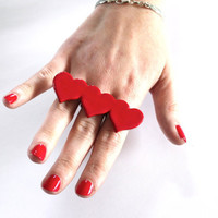 Red Heart Ring Ceramic - big bold handmade adjustable cocktail ring - LOTS of LOVE - 2.7 inch