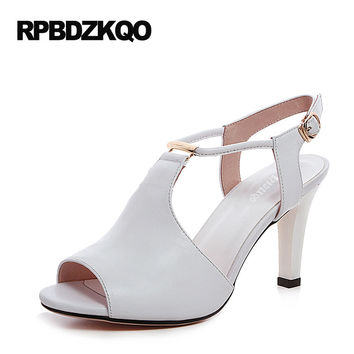 High Heels Open Toe 2017 Nude 4 34 Small Size Thin Peep Fashion Summer Pumps Slingback White Shoes New Women 8cm 3 Inch T Strap