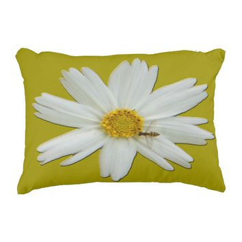 White Daisy Tiny Bee Accent Pillow