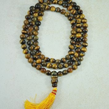 Tiger's Eye Mala 108 Beads Prayer Necklace