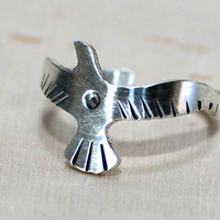 Flying Seagull Sterling Silver Toe Ring or Adjustable Finger Ring