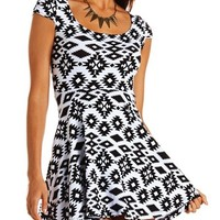 Lattice Back Tribal Skater Dress: Charlotte Russe