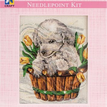 "Puppy In Tulips Needleart World Tapestry Kit 8""X10"""