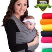 LIFETIME GUARANTEE - CuddleBug Baby Wrap Carrier - Grey Baby Wrap - Free Shipping - ALL NATURAL BABY CARRIER- One Size Fits All - Money Back Guarantee (Grey)