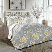 Plush Gray Yellow Geometric Medallion 7-Piece Comforter Set in King