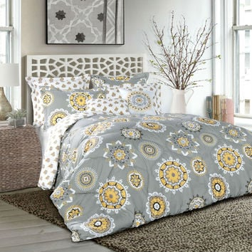 Plush Gray Yellow Geometric Medallion 7 Piece Comforter Set in King