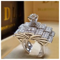 New Fashion Women Elegant Zircon Ring Jewelry Silver Color Engagement Wedding Rings for Women Size 5 6 7 8 9 10 11