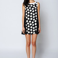 Black And White Polka Dot Chiffon Sleeveless Dress